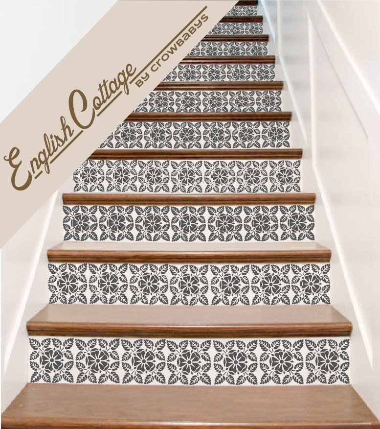 stair decals english cottage vinyl staircase steps decor. Black Bedroom Furniture Sets. Home Design Ideas
