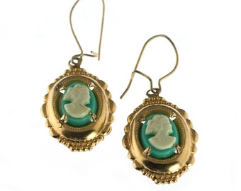 Gold Plated Blue Cameo Earrings