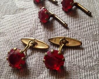 Red Glass Cufflinks