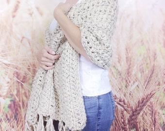Womens Crochet Shawl Wrap with Fringe, Crochet Wrap, Womens Shawl, Crochet Fringe Shawl, Stole Wrap Shawl, Rectangular Shawl - {OATMEAL}