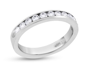 0.52 CT Natural Diamond Channel Set Wedding Band in Solid 14k White Gold