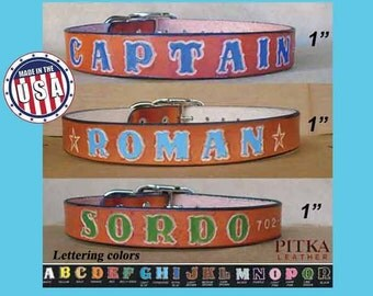 Large Leather Dog Collars - Collar for Big Dogs - Custom Made Dog Collars - 1 inch wide British Tan Dog Collar Personalized  with dogs name