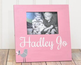 Personalized Picture Frame - Baby Shower - Baby Gift Wall Art - Baby Name - Picture Frame with 5x7 Frame - Baby Picture Frame - Hand Painted