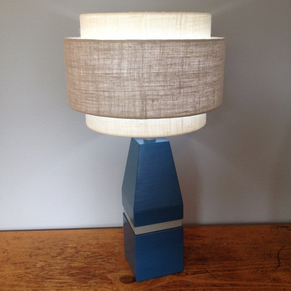 retro modern laminated wood table lamp base in blue and gray. Black Bedroom Furniture Sets. Home Design Ideas