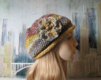 Women's Knitted Hat, Winter Hat, Noro Silk Garden, Slouchy Beanie, 'Amelia-II', crocheted flower trim.