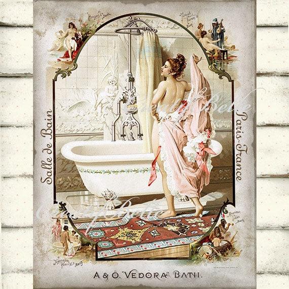 French victorian bathroom salle de bain bathtub large instant for Salle de bain in french