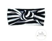 Black and White Stripe Knotted Turban Headband / Knot Tied Headbands / Newborn Baby Girl Kids Women Children Adult / Striped Headwrap Turban