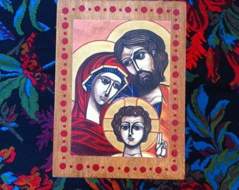 """Wooden Prayer and Blessing Box - FREE SHIPPING - with colored pencils and paper - Original art print """"Holy Family"""" embellishing lid"""