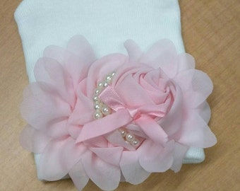 EXCLUSIVE Newborn Hospital Hat Beautiful Pink Chiffon Flower, With Satin Bow, Pearls and Petals. Simply Divine! Perfect for Baby Girl!