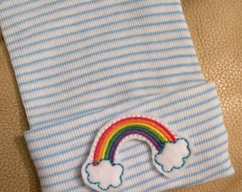 Newborn Hospital Hat. RAINBOW! Newborn Beanie 1st Keepsake. New Baby Great Gift! Great Gift and Cute Coming Home Outfit! Choice of Hat Color