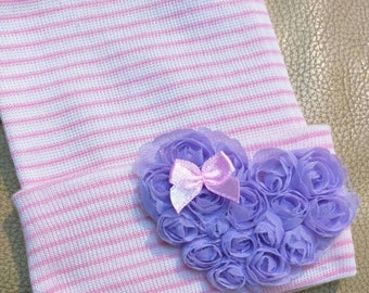 Newborn Hospital Beanie w/ Lavender Rosette Heart and Bow. Great Gift. Perfect Going Home Hat! Choice of Hat C