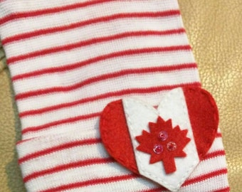 Heart CANADA Flag Newborn Hospital Hat! 1st Keepsake! 1st Hat! Newborn Hospital Hat! Super Cute! Great Photo Prop Too! Cute Gift Too!