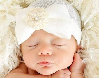 A Best Seller! Newborn Hospital Hat My Signature Hat! Baby's 1st Keepsake! With Pretty Bow/Flower & Pearl. The Mary. Choice of Flower