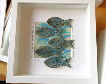 Ceramic fish - framed art - coastal design