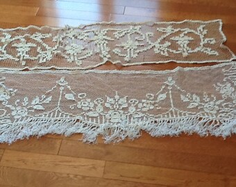 French window topper with dresser lace