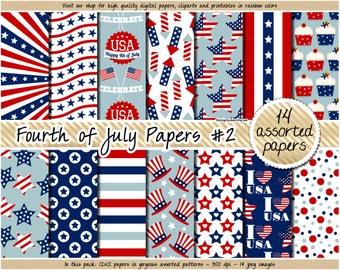 SALE 4th of July digital paper USA patriotic digital paper independence day Fourth of July clipart scrapbooking navy blue red stars stripes