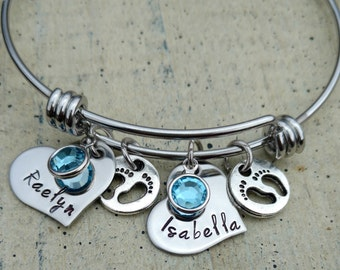 Heart Hand stamped twins name charm bangle Bracelet with birthstones gift for Grandma Mother Mommy Nana Mom Custom Personalized Jewelry