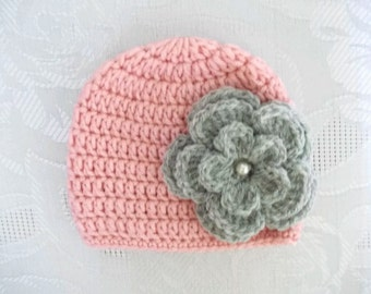 Crochet baby hat Pink newborn hat Newborn girl hat Newborn hospital hat Baby girl hat with flower Newborn girl outfit Crochet baby beanie