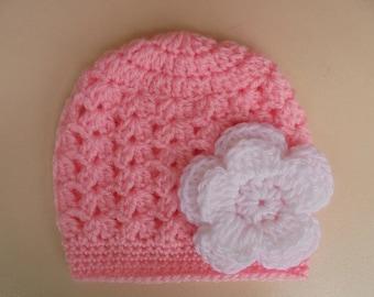 Crochet baby hat, newborn girl hat, crochet newborn hat, pink baby hat, baby girl hat, baby girl beanie, flower baby hat, spring baby hat