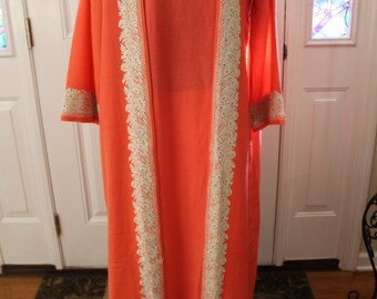 Vintage Coral Dressing Gown with Embroidery