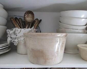 FRANCE * ancient patinated ceramic pot shabby *.