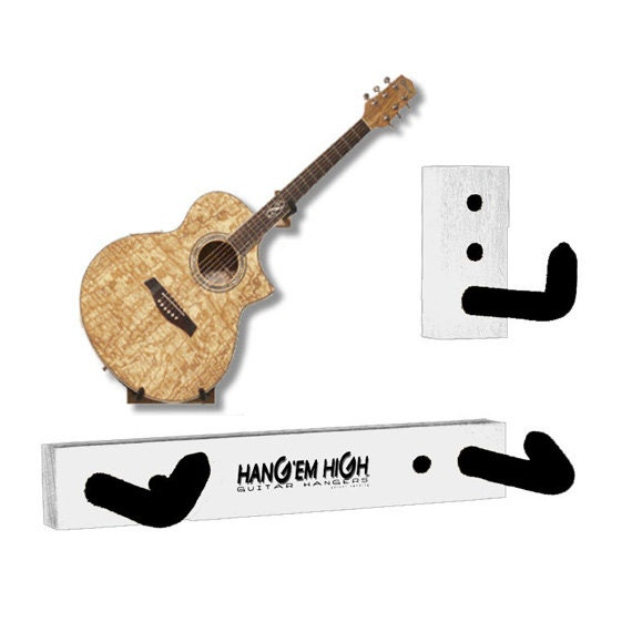White Angled Guitar Wall Hanger For Acoustic By