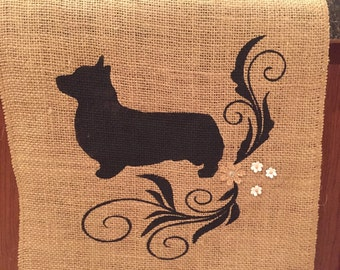 Breed silhouette burlap table runner