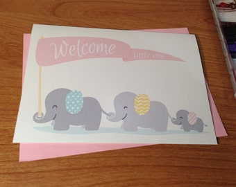 New Baby Girl Cute Elephants Card. Welcome Little One. Yellow, Pink, or Blue
