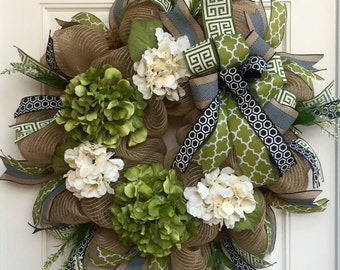 Burlap Mesh All Season Hydrangea Wreath in Moss Green, Cream & Black, Front Door Wreath, Year Round Wreath, Floral Wreath, Deco Mesh Wreath