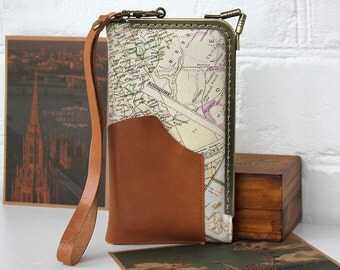 Maps IPhone 6 Wristlet Case Maps Linen Fabric Leather Pocket iPhone 5 Case Girlfriend Gift Spring Case Rustic Samsung Galaxy