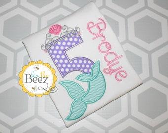 Girls Mermaid Birthday Shirt, Mermaid Birthday Shirt, Mermaid Shirt, Little Mermaid Shirt, Mermaid Outfit, Personalized Shirt, Pink and Aqua