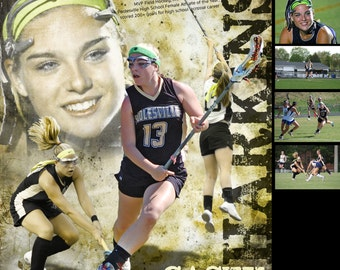 Custom Lacrosse Sports Poster Collage for ANY SPORT team or athlete - Sportrait Design and Poster Printing School Team Sports