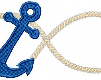 Machine Embroidery Design - Inifinity Rope Anchor.  Comes in 6 sizes