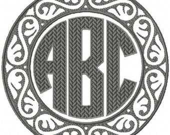 Machine Embroidery Design  Damask Circle Monogram Frame comes in  7,6,5,4,3inch sizes