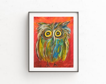 Owl Art, Owl Print, Owl Illustration, Childrens Art, Kids Room Decor, Whimsical Owl