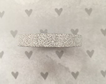 WashiTape Glitter, zilver, Washi, small, 0,5 cm breed, 5 meter lang