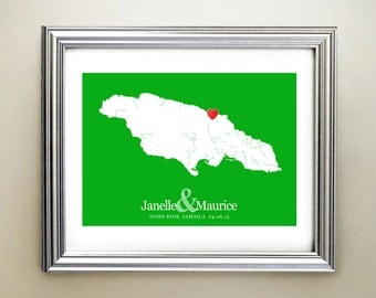 Jamaica Custom Horizontal Heart Map Art - Personalized names, wedding gift, engagement, anniversary date