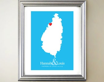 St Lucia Custom Vertical Heart Map Art - Personalized names, wedding gift, engagement, anniversary date