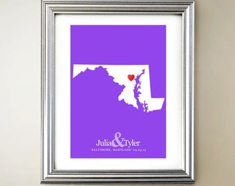 Maryland Custom Vertical Heart Map Art - Personalized names, wedding gift, engagement, anniversary date