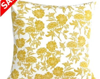 "SALE Decorator Pillow Cover Valorie Wells fabric 18"" sq. Pillow, golden yellow, cream floral"