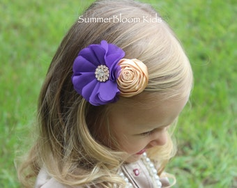 Purple and gold hair clips, gold and purple flower clips, gold and purple flower girl hair clips, fall wedding hair clip, purple hair bows