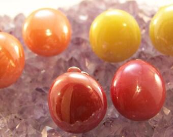 Clip On Button Earrings, Red, Orange, Clipon Earrings, Vintage Old Fashioned, Unpierced Earrings, Earlobe Hugger, Retro Jewelry, Gem