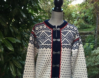 Dale of Norway, Norwegian wool cardigan ski sweater-Size M