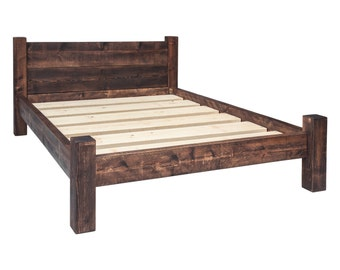 Solid Wooden Chunky Bed Frame in a Choice of Sizes Single, Double, Kingsize, Super King and Rustic Wax Finishes with Double Plank Headboard