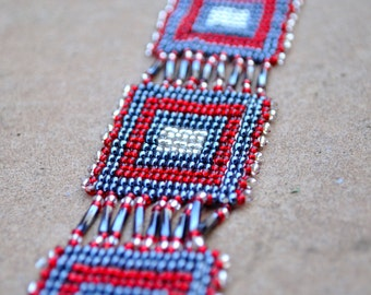 Delicate royal statement bracelet, Beaded Red grey and white African bracelet,Traditional African beadwork,Ethnic African accesories