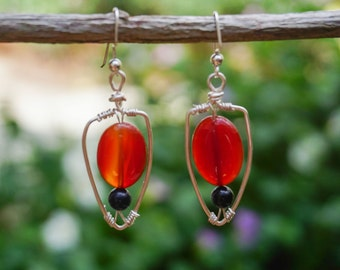 Carnelian Earrings, Gemstone Earrings,Arrowhead Earrings,Earrings Hooks,Silver Earrings, Boho Earrings, Bohemian Earrings, Carnelian Jewelry