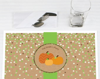 Set of 12 Pumpkin Patch Placemats - Personalized Fall or Halloween Baby Shower or Birthday Party Supplies