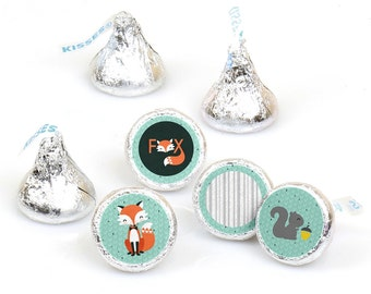 Hershey Kiss® Stickers - Mr. Foxy Fox - Round Candy Label Party Favors - Baby Shower / Birthday Party - Hershey Kisses Label - 108 per Sheet