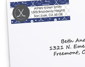30 Shoots & Scores! - Hockey Return Address Labels - Personalized Party Supplies