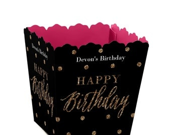 Custom Small Candy Boxes - Chic Pink, Black, and Gold - Personalized Birthday Party Supplies - Set of 12